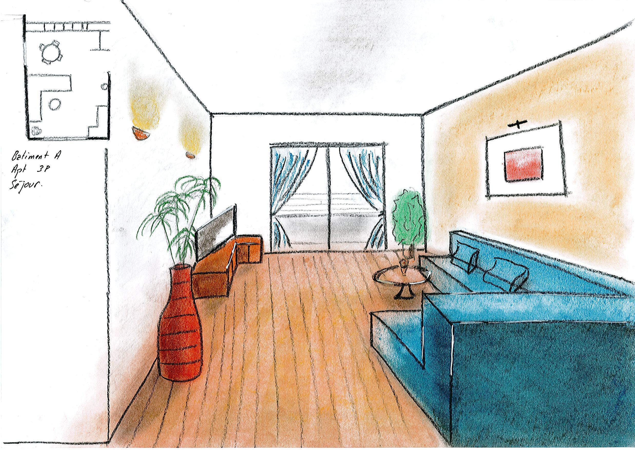 Dessin De Salon En Perspective : Dessins d architecture intérieure esquisses en