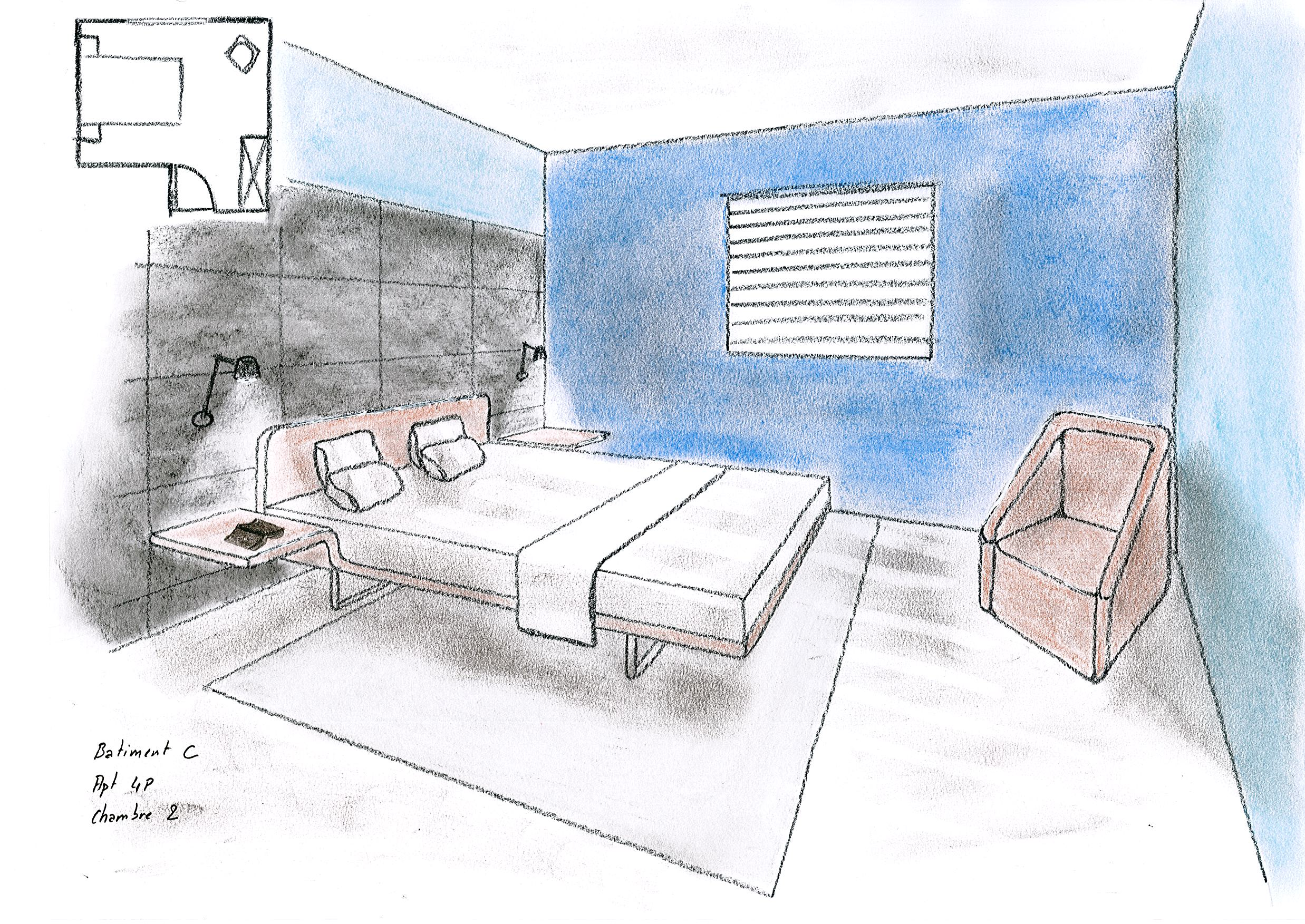 Dessins d architecture intrieure esquisses en - Logiciel d amenagement d interieur ...
