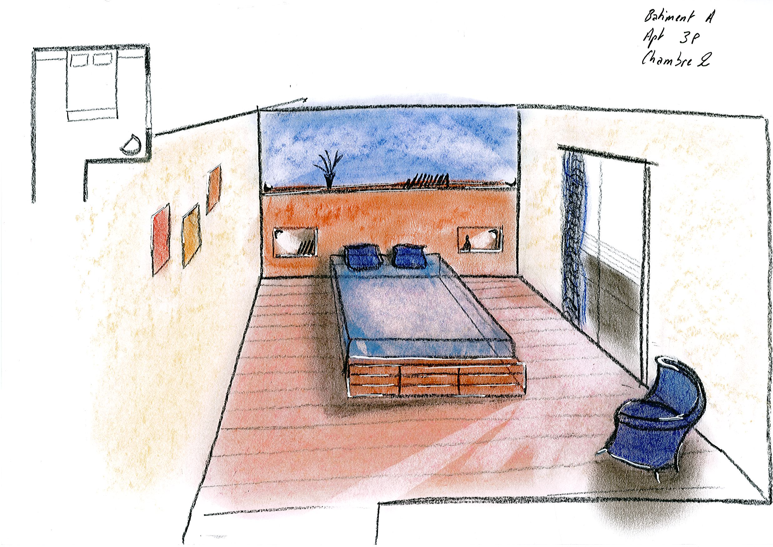 Dessins d architecture intrieure esquisses en for Dessin architecture interieur