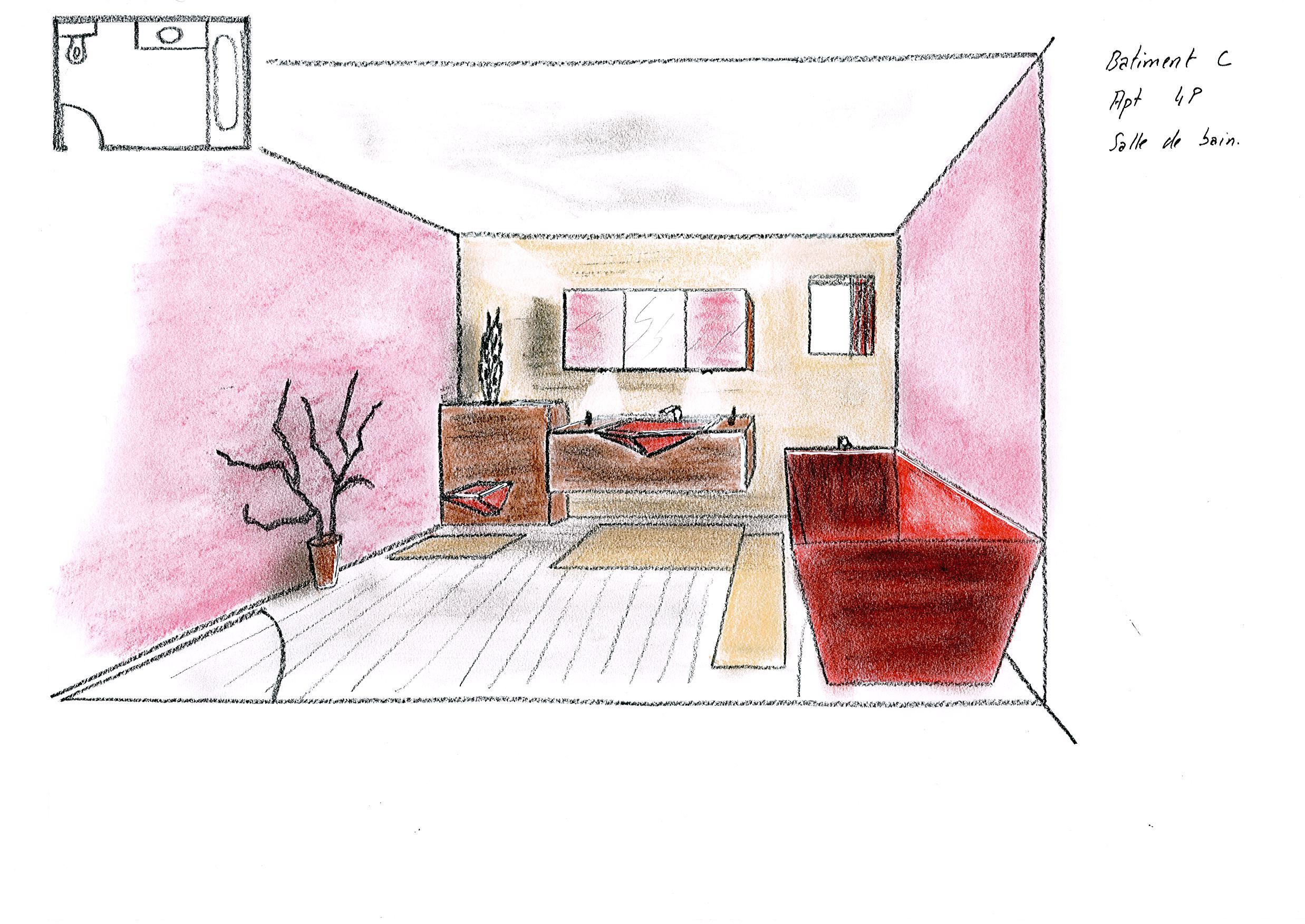Dessins d architecture int rieure esquisses en for Dessin architecture interieur