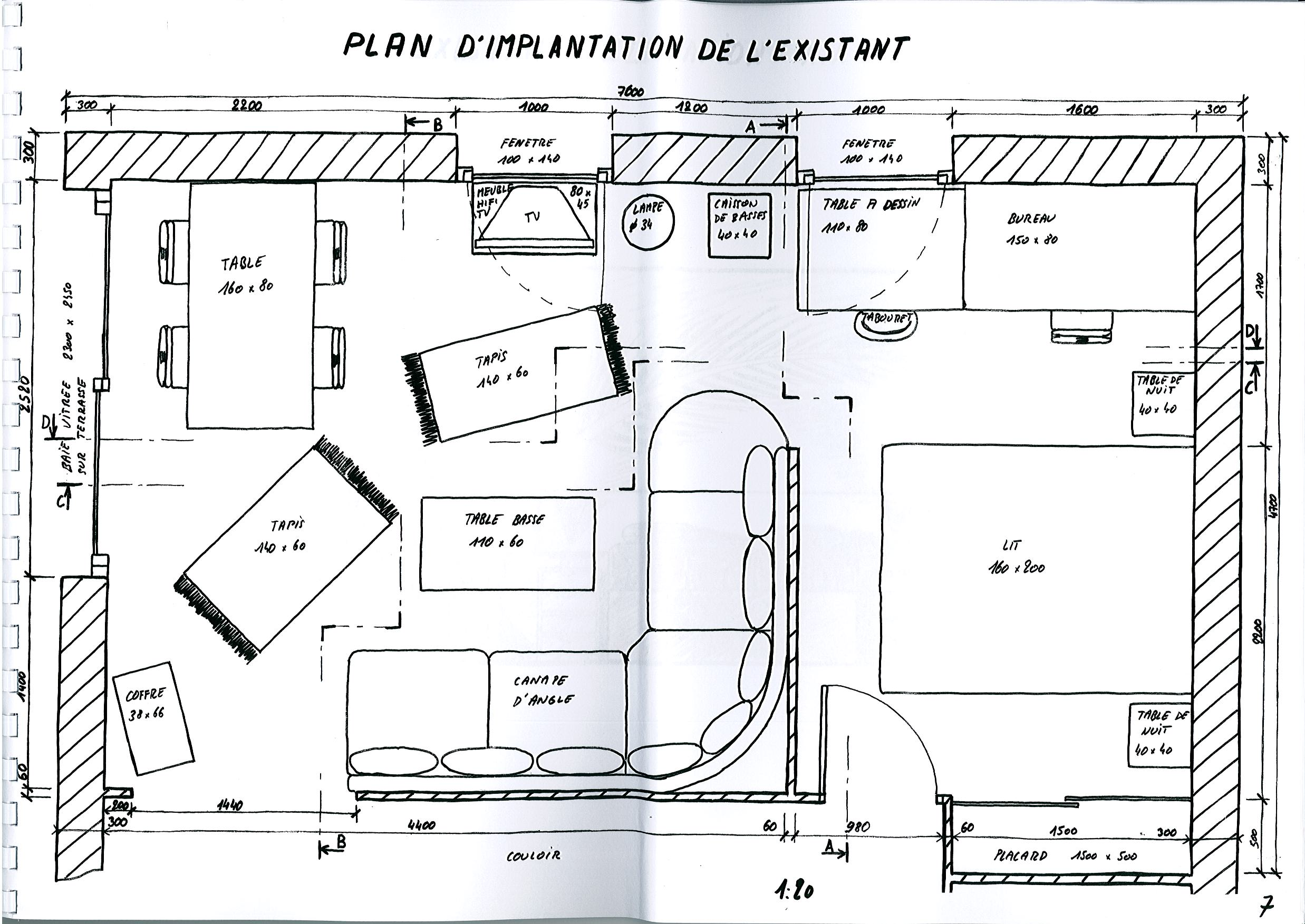 Am nagement d un salon s jour contemporain esquisses en architecture d 39 - Plan amenagement salon ...