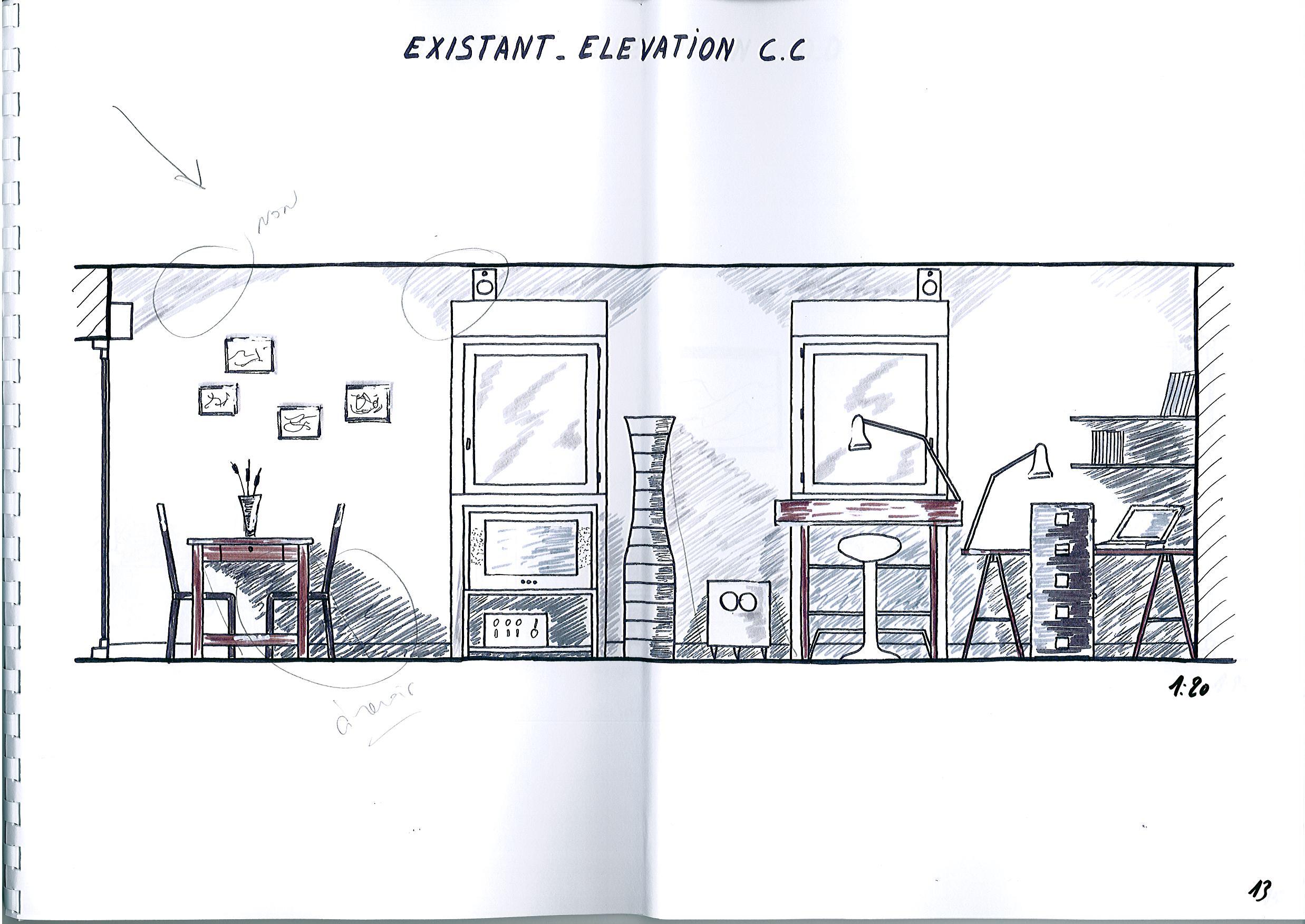 Plan Amenagement Salon Sejour aménagement d'un salon-séjour contemporain.   esquisses en