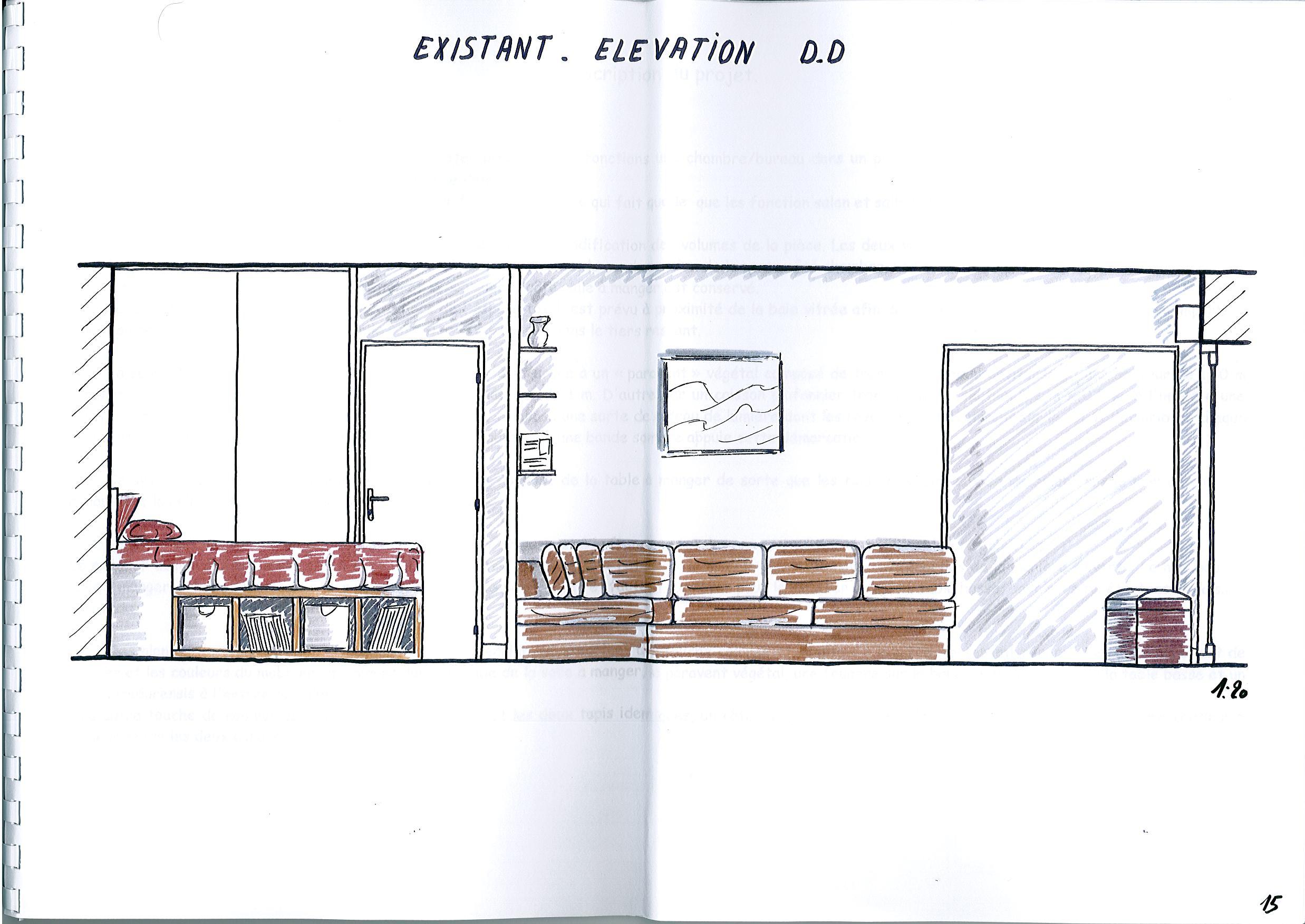 Plan Elevation En Anglais : Aménagement d un salon séjour contemporain esquisses en